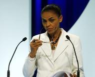 Candidata do PSB à Presidência, Marina Silva, durante debate no SBT em São Paulo. 02/09/2014 REUTERS/Paulo Whitaker