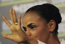 Candidata do PSB à Presidência da República, Marina Silva, durante sabatina no portal do jornal O Estado de S. Paulo. REUTERS/Nacho Doce