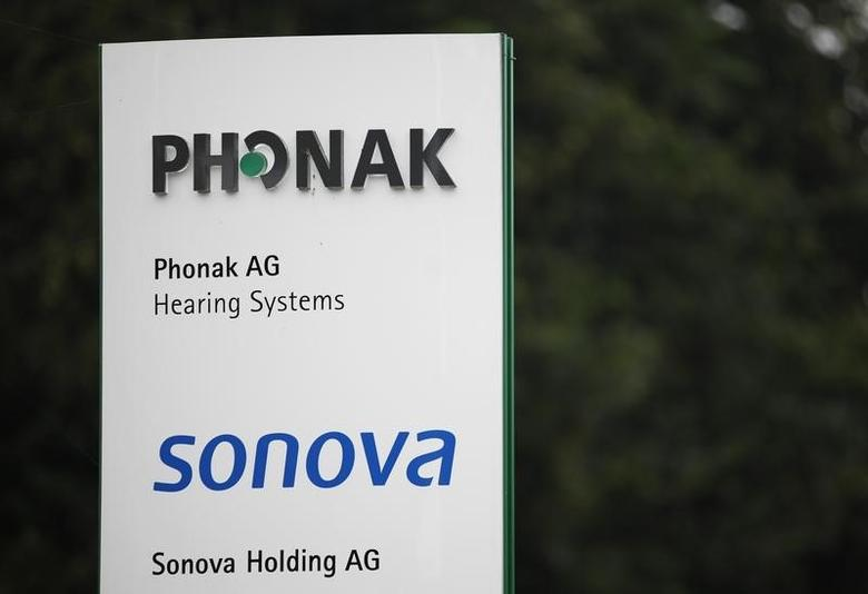 The logo of Phonak hearing devices and Swiss hearing aid maker Sonova are pictured at the company's headquarters in the village of Staefa east of Zurich September 5, 2012. REUTERS/Michael Buholzer