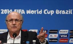 Presidente da Fifa, Joseph Blatter, durante entrevista coletiva no Maracanã. 14/07/2014  REUTERS/Pilar Olivares