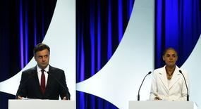 Os candidatos à Presidência Aécio Neves e Marina Silva durante debate de TV em São Paulo em 1o de setembro.  REUTERS/Paulo Whitaker