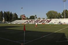 A player runs on Bonney Field, the home of Sacramento Republic FC soccer club, in Sacramento, California August 27, 2014. REUTERS/Robert Galbraith