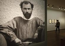 A photograph of Austrian Jugendstil artist Gustav Klimt is displayed at the Albertina museum in Vienna March 22, 2012. REUTERS/Herwig Prammer
