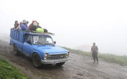 One of the pickup trucks used to transport tourists to Javaher Dasht is seen in Gilan province August 8, 2013.  REUTERS/Michelle Moghtader