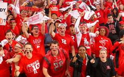 Sep 13, 2014; Piscataway, NJ, USA; Rutgers Scarlet Knights students cheer on their team against the Penn State Nittany Lions at High Points Solutions Stadium. Mandatory Credit: Jim O'Connor-USA TODAY Sports