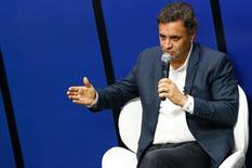 Aécio Neves durante entrevista no jornal O Globo em 10 de setembro.  REUTERS/Ricardo Moraes