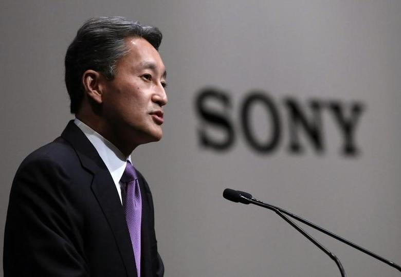 Sony Corp's President and Chief Executive Officer Kazuo Hirai speaks during its corporate strategy meeting at the company's headquarters in Tokyo May 22, 2014. REUTERS/Yuya Shino