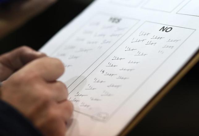9月19日、スコットランド独立の是非を問う住民投票では、反対票が50%を上回り、独立が否決された。写真はアバディーンで18日撮影(2014年 ロイター/Dylan Martinez)