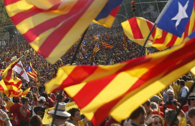 People hold ''estelada'' flags, Catalan separatist flags, during a gathering to mark the Calatalonia day ''Diada'' in central Barcelona September 11, 2014. REUTERS/Albert Gea