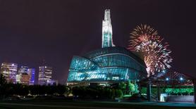 Fireworks burst over the Canadian Museum of Human Rights in Winnipeg, Manitoba in this picture provided by CMHR-MCDP August 20, 2014.    REUTERS/Aaron Cohen/CMHR-MCDP/Handout via Reuters