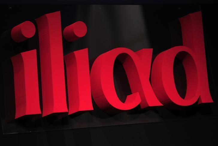 The logo of French low-cost telecoms provider Iliad is pictured during the company 2013 annual results presentation in Paris March 10, 2014.  REUTERS/Jacky Naegelen