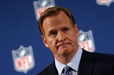 NFL Commissioner Roger Goodell speaks at a news conference to address domestic violence issues and the NFL's Personal Conduct Policy in New York, September 19, 2014.  REUTERS/Mike Segar