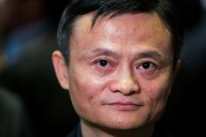 "Alibaba Group Holding Ltd. founder Jack Ma waits for an interview at the New York Stock Exchange before the company's initial public offering (IPO) under the ticker ""BABA"", in New York September 19, 2014. REUTERS/Lucas Jackson"