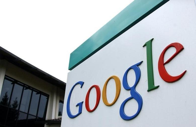 The logo of Google Inc. is seen outside their headquarters building in Mountain View, California August 18, 2004.  Photographer: STR NEW/Reuters