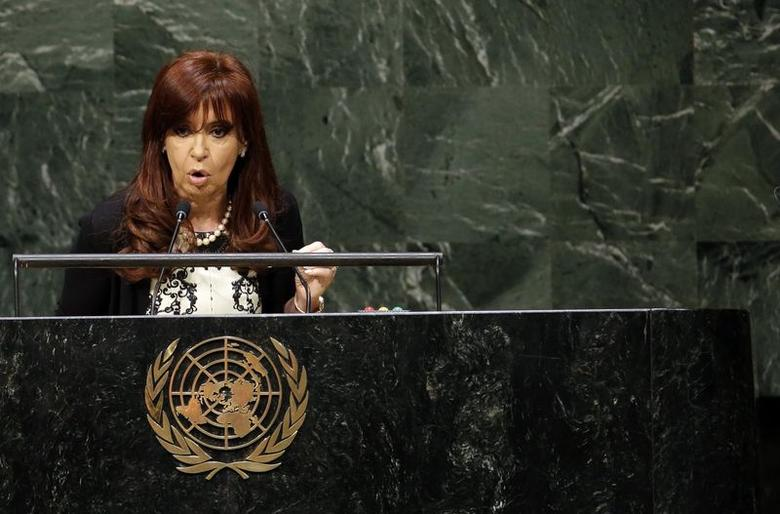 Argentina's President Cristina Fernandez de Kirchner addresses the 69th United Nations General Assembly at U.N. headquarters in New York, September 24, 2014.  REUTERS/Mike Segar