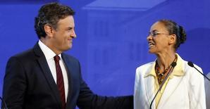 Candidatos à Presidência Aécio Neves (PSDB) e Marina Silva (PSB) em debate na TV. 16/09/2014 REUTERS/Paulo Whitaker