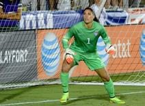 USA goalkeeper Hope Solo (1) watches a cross during a women's friendly between the USA and Switzerland at Wake Med Soccer Park. Aug 20, 2014; Cary, NC, USA;   Rob Kinnan-USA Today.