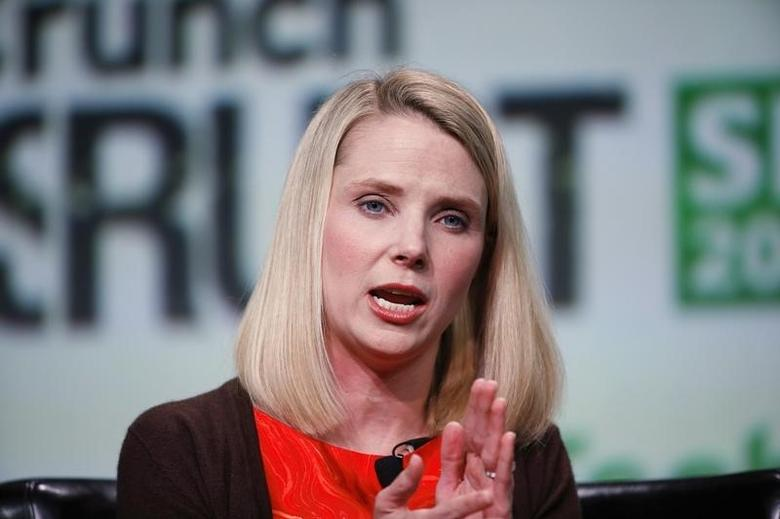 Marissa Mayer, CEO of Yahoo!, speaks on stage during a fireside chat session at TechCrunch Disrupt SF 2013 in San Francisco, California September 11, 2013. REUTERS/Stephen Lam