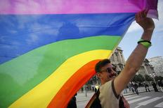 A gay rights activist holds a rainbow flag during a Pride march in Belgrade, September 28, 2014.   REUTERS/Djordje Kojadinovic