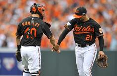 Oct 3, 2014; Baltimore, MD, USA;Baltimore Orioles catcher Nick Hundley (40) celebrates with right fielder Nick Markakis (21) after winning against the Detroit Tigers in game two of the 2014 ALDS playoff baseball game at Oriole Park at Camden Yards. The Orioles won 7-6. Mandatory Credit: Joy R. Absalon-USA TODAY Sports