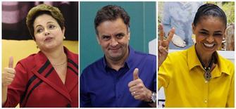 Candidatos à Presidência Dilma Rousseff (PT), Aécio Neves (PSDB) e Marina Silva (PSB) em seus locais de votação, neste domingo. REUTERS/Edison Vara, Washington Alves e Sergio Moraes