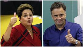 Candidatos à Presidência da República, presidente Dilma Rousseff (PT) e Aécio Neves (PSDB), votam em Porto Alegre e Belo Horizonte, respectivamente. 5/10/2014 REUTERS/Paulo Whitaker / Washington Alves