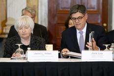 U.S. Federal Reserve Chair Janet Yellen (L) and Treasury Secretary Jack Lew (R) arrive to participate in a meeting of the Financial Stability Oversight Council at the Treasury Department in Washington October 6, 2014. REUTERS/Jonathan Ernst