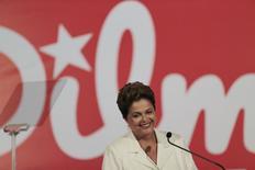 A presidente e candidata à reeleição Dilma Rousseff durante entrevista coletiva após o primeiro turno das eleições, em Brasília, domingo. 05/10/2014 REUTERS/Ueslei Marcelino