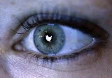 Логотип Twitter отражается в зрачке человека в Берлине 7 ноября 2013 года. Twitter Inc подал в суд на Министерство юстиции США, добиваясь права на публикацию информации о запросах со стороны властей США, пытающихся собрать данные о пользователях сети микроблогов. REUTERS/Fabrizio Bensch