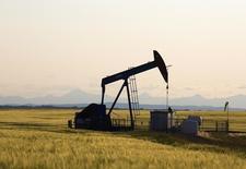 Una unidad de bombeo de crudo en un campo cerca de Calgary, Canadá, jul 21 2014. Los precios mundiales del petróleo se dirigen a una caída mayor, ampliando un descenso de varios meses en momentos en que es improbable que Arabia Saudita reduzca su producción lo suficiente como para borrar un creciente superávit en la oferta, dijo Gary Ross, presidente ejecutivo de PIRA Energy Group. REUTERS/Todd Korol