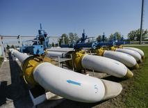 Вид на газовую станцию в Ужгороде 21 мая 2014 года. Украина, перекачивающая по своим газопроводам половину российского газового экспорта в Европу, планирует с 1 ноября ввести новые тарифы на транспортировку топлива, надеясь, что это поможет добиться переноса закупок газа европейскими операторами с западной границы на границу с Россией. REUTERS/Gleb Garanich