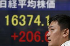 Un hombre frente a una pantalla electrónica que muestra el índice Nikkei en Tokio. Imagen de archivo, 25 septiembre, 2014. El índice Nikkei de la bolsa de Tokio cayó por cuarto día consecutivo el viernes, llegando a un mínimo en dos meses por la preocupación sobre la economía global. REUTERS/Toru Hanai