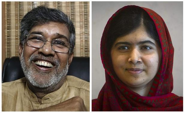 Combination picture of this year's Nobel Peace Prize winners, Indian children's right activist Kailash Satyarthi (L) at his office in New Delhi October 10, 2014, and Pakistani schoolgirl activist Malala Yousafzai at the United Nations in the Manhattan borough of New York in a file picture taken August 18, 2014. REUTERS-Adnan Abidi-Carlo Allegri-Files