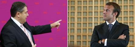Compilado fotográfico de los  ministros de Economía Sigmar Gabriel; de Alemania, y Emmanuel Macron; de Francia. 23 septiembre 2014. Los ministros de Economía de Alemania y Francia han pedido a expertos en Berlín y París que presenten recomendaciones de reformas para ambos países, en un aparente intento por evitar un enfrentamiento entre pesos pesados de la zona euro por sus políticas económicas. REUTERS/Staff