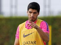 Luis Suárez  durante treino do Barça em Sant Joan Despi, perto de Barcelona.  15/8/2014 REUTERS/Gustau Nacarino