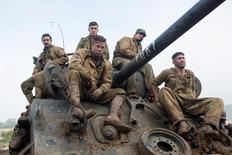 "Shia LaBeouf as Boyd ""Bible"" Swan,  Logan Lerman as Norman, Brad Pitt as Wardaddy, Michael Pena as Trini ""Gordo"" Garcia and Jon Bernthal as Grady ""Coon-Ass"" Travis in Columbia Pictures' Fury. REUTERS/Columbia Pictures"