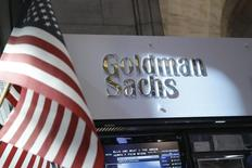 Goldman Sachs stall on the floor of the New York Stock Exchange is shown in this July 16, 2013 file photo. REUTERS/Brendan McDermid/Files