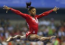Simone Biles no campeonato mundial em Nanning, em 8 de outubro.  REUTERS/China Daily