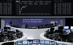 Un grupo de operadores en sus puestos de trabajo en la bolsa de Fráncfort, oct 21 2014. Las acciones europeas subieron el martes, impulsadas por títulos de la banca y papeles de países periféricos de la zona euro, luego de que fuentes dijeron a Reuters que el Banco Central Europeo evalúa realizar compras de bonos corporativos para reanimar a la economía de la región.     REUTERS/Remote/Stringer
