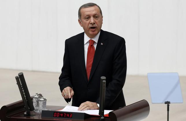 Turkey's President Tayyip Erdogan addresses the Turkish Parliament during a debate marking the reconvene of the parliament in Ankara October 1, 2014. REUTERS/Umit Bektas