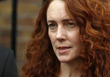 Former News International chief executive Rebekah Brooks makes a statement to the media in London June 26, 2014. REUTERS/Luke MacGregor