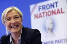 Marine Le Pen, líder francesa de extrema direita, em entrevista coletiva em Nanterre, em foto de arquivo. 27/05/2014 REUTERS/Philippe Wojazer