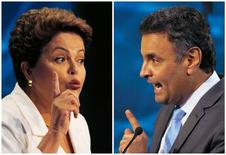 Presidente e candidata à reeleição Dilma Rousseff (PT) e o candidato do PSDB à Presidência, Aécio Neves, em fotos tiradas durante debate presidencial. REUTERS/Paulo Whitaker