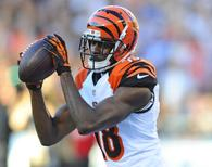 Dec 1, 2013; San Diego, CA, USA; Cincinnati Bengals wide receiver A.J. Green (18) catches a touchdown pass during the second half against the San Diego Chargers at Qualcomm Stadium. The Bengals won 17-10. Mandatory Credit: Christopher Hanewinckel-USA TODAY Sports