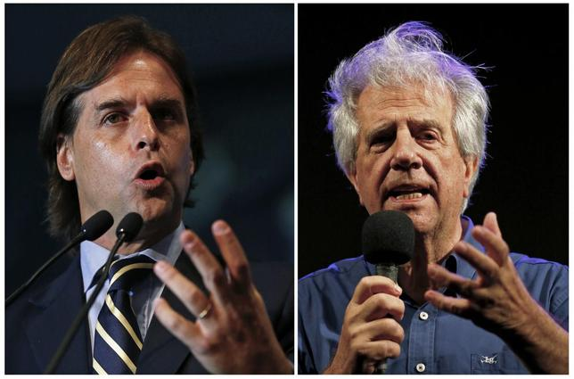 A combination photo shows Uruguayan National Party presidential candidate Luis Lacalle Pou presenting his government plan in Montevideo September 15, 2014 (L) and presidential candidate for the ruling party Frente Amplio, Tabare Vazquez, making a speech during the final rally of his campaign in Montevideo October 23, 2014.    REUTERS/Andres Stapff