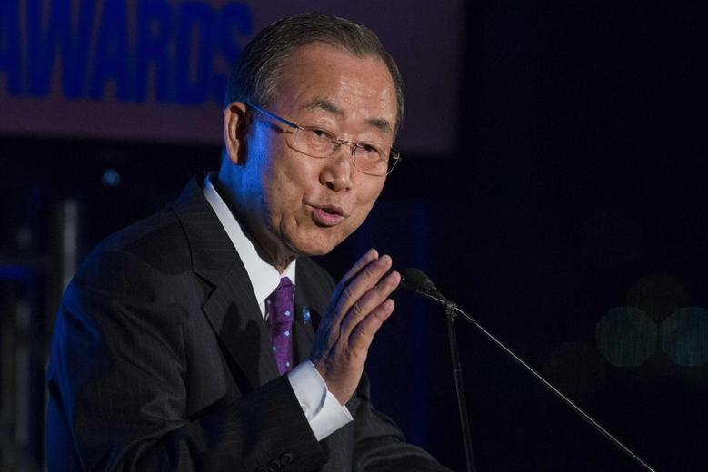 United Nations Secretary General Ban Ki-moon speaks during the Asia Society's Game Changer Awards at United Nations headquarters in New York October 16, 2014. REUTERS/Lucas Jackson