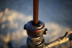 Una bomba de extracción de crudo en Bakersfield, EEUU, oct 14 2014. Los grandes yacimientos de petróleo y gas en aguas del extremo norte de Europa podrían quedar intactos ahora que se han desplomado los precios del crudo, manteniendo un suministro potencial equivalente a unos 1.000 millones de barriles fuera del mercado para el futuro inmediato. REUTERS/Lucy Nicholson