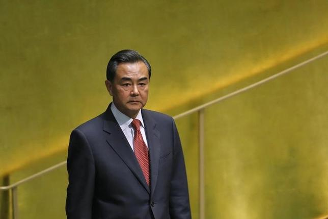 Chinese Foreign Minister Wang Yi arrives to address the 69th United Nations General Assembly at the U.N. headquarters in New York September 27, 2014. REUTERS/Eduardo Munoz