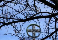 Логотип Bayer AG на заводе Bayer Healthcare в Вуппертале 24 февраля 2014 года. Прибыль крупнейшего немецкого фармацевта Bayer от основных операций выросла на 1,4 процента в третьем квартале, немного опередив усредненный прогноз аналитиков благодаря сильным продажам в подразделении, выпускающем пестициды. REUTERS/Ina Fassbender
