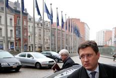 Ministro da Energia russo, Alexander Novak, ao chegar para negociações sobre gás com representantes da União Europeia e Ucrânia, em Bruxelas. 29/10/2014. REUTERS/Francois Lenoir